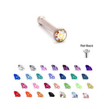 Surgical Steel Nose Bone Stud Ring 1.5mm Micro Gem 18G