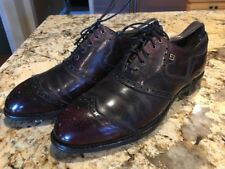 FootJoy Men's Wingtip Lace Up Golf Shoes Spikes 9 B Burgundy