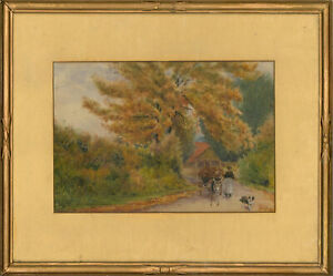 J. N. Hobart - Signed & Framed 1881 Watercolour, Autumn Farm
