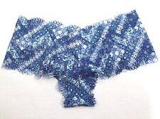 Victoria's Secret The Crochet Lace Sheer Boyshort Panty Blue Floral Print Size M