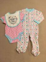 Baby Gear Thank Heaven...Girls 3-piece outfit Sleeper Bodysuit & Bib 0-3 Months