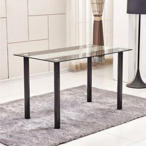 Modern Dining Table Tempered Glass Top Chrome Leg Kitchen Dining Room Restaurant