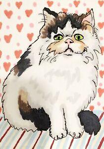 5x7 PERSIAN Cat Valentine Art PRINT of Painting Artwork by KSams