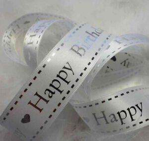 1m x 20mm  WHITE WITH SILVER HAPPY BIRTHDAY RIBBON,  CAKE HAIR, GIFT CARDS