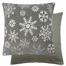 """Christmas Sparkly Snowflakes Silver Thick Woven Cushion Cover 18"""""""