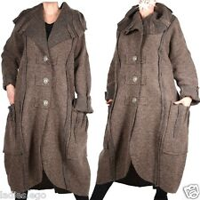 DAMEN WOLLE MANTEL TRENCH COAT LAGENLOOK WINTER ÜBERGANG 60 4XL BEIGE BRAUN NEU