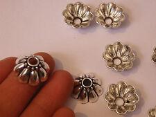 10 large bead caps tibetan tibet silver antique vintage jewellery wholesale UK -