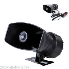 5-Sound Tone 300db Car Van Truck Megaphone Loud Air Horn Siren w/ PA MIC Speaker