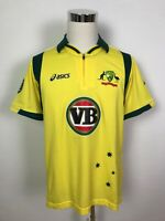 Asics Cricket Australia Mens ODI One Day International Jersey Zip Collar Size L