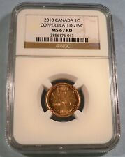 2010 1c CANADA NGC MS 67 RD CENT MAPLE LEAF LOGO COPPER PLATED ZINC MS 67 RED