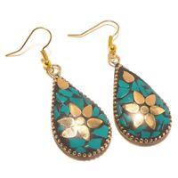 Mix Color Tibetan Silver Brass Gemstone Earrings Jewellery