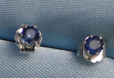 LOOK NOW!  PETITE 3.0MM  ROUND NATURAL BLUE SAPPHIRE STUDS  IN STERLING SILVER