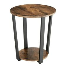 Round Vintage End Table Chairside Shelf Storage Side Sofa Accent Furniture Wood