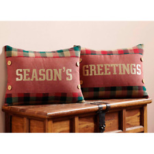 Country Rustic Christmas Holiday Reed Embroidered Seasons Greetings Pillow Set