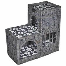vidaXL Casita/Cama/Rascador material Mimbre para Gato con Forma de Castillo gris