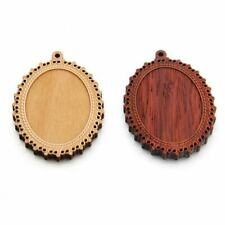 Wood Pendants Blank Setting Trays 30*40mm Yellow Pear Glass Cameo Cabochons Diy