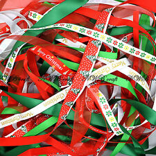 10 x 1 Metres Happy Merry Christmas Ribbon Off Cut Bundles Gift Wrapping