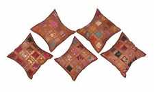 "16"" Inch Cushion Cover Trendy Vintage Cotton Pillow Cases 5 PC Set"