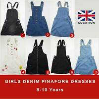 Girls Denim Pinafore Dresses Dungarees 9-10 Years Brand New 50% OFF(PD9-10)