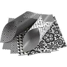 50 x Black/White 15cm Paper Double Sided Origami 4 Design Craft Card Making 80g