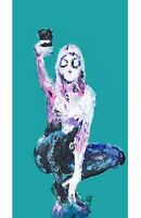 Spider Gwen Spidergwe Comic Book Print Wall Art Abstract Palette Knife Painting