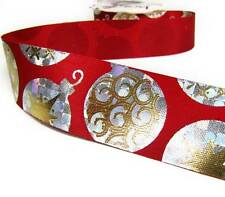 """3 Yds Christmas Red Silver Gold Bauble Ornaments Acetate Ribbon 1 3/8""""W"""