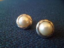 "Vintage Silver Tone Faux Pearl Stud Clip-on Earrings 5/8"" Diameter (67)"