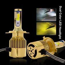 2x 9600LM H4 9003 Dual Color LED Headlight Kit Bulbs Hi/Lo Beam Yellow&White 76W