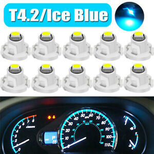 10x Ice Blue T4.2 Wedge LED Car Cluster Instrument Dash Climate Light Bulbs Kit