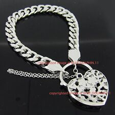 Real Solid 14k White Gold GF Flat Curb Chain Heart Clasp Padlock Bracelet Bangle