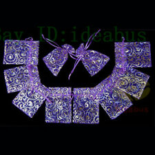 "Organza Pouches Jewelry Wedding Bags 100Pcs Purple with Gold Rattan 4.75""x3.5"""