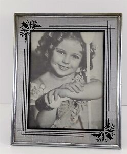 """Shirley Temple Black Silver 11 x 9"""" Art Deco Reverse Painted Picture Frame"""