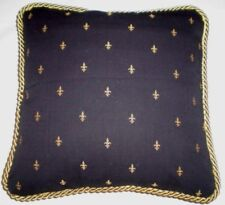 Cottage French Country Pillow Black Gold Fleur De Lis Toile FDL Paris cushion.