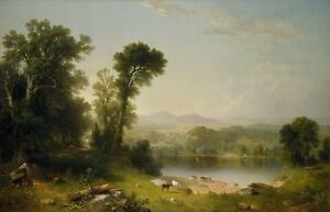 Excellent Oil painting Pastoral Landscape Asher Brown Durand with cows by river