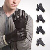 Warm Touchscreen Texting Faux Leather Mens Gloves - Fleece Lining - Gift Wrapped