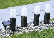 GloBrite set of 4 rattan solar post garden lights white LED stake