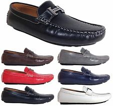 Men Brixton New Leather Driving Casual Shoes Moccasins Slip On Loafers Clint 02