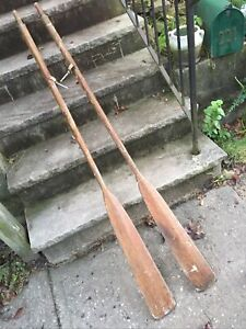 """Pair of Antique Wood  Boat Oars 66"""" Paddles Vintage Nautical Cabin Lake Decor"""