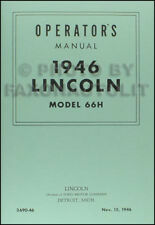 1946 Lincoln Owners Manual 46 Owner Operator User Instruction Guide Book
