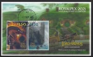 NEW ZEALAND 2021 ROYALPEX '21, LORD OF THE RINGS MINIATURE SHEET FINE USED