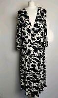 M&S Women Wrap Dress White Mix Black Tree Print Casual Work Office Plus Size 16