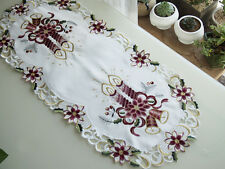 "Christmas Embroidered Purple Candle Cut Work Lace Table Runner 33x15"" C09"
