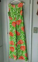 vintage Maxi Dress Tropical Green Orange Kay Windsor Mod Pattern sleeveless