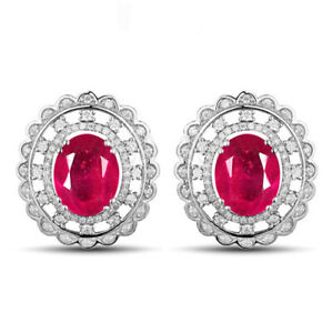 14KT Gold / 4.25Ct 100% Natural Burmese Ruby With IGI Certified Diamond Studs