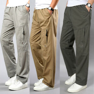 Mens Work Straight 100%cotton Cargo Combat Pants Military Army Outdoor Trousers