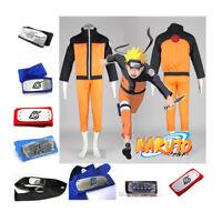 Naruto Shippuden Uzumaki Adult Costume Cosplay Jacket + Pant + Headband Set