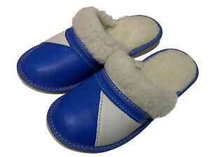 Royal Blue Real Leather Sheepskin Fluffy Women Lady slippers mules sizes 3 - 9