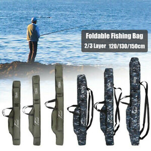 Folding Fishing Rod Holdall Bags Carrier Pole Tool Storage For Gear Tackle Reel