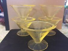 Vtg Lot Of 5 Yellow Depression Glass Embossed Ice Cream Dessert Bowls