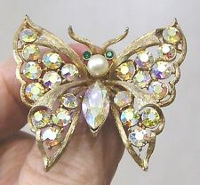 Vintage Jewelry CORO Butterfly Brooch Pink Aurora Rhinestones Goldtone